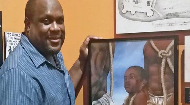 "Dana Coleman stands next to a canvas gicleé of ""Priscilla"" on Sullivan's Island"