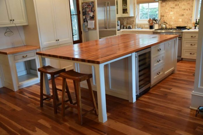 Heart Pine Kitchen Island