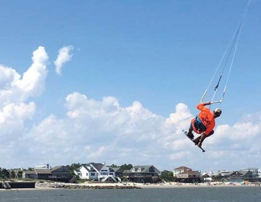 Kiteboarding at Sullivan's Island, SC. Photo courtesy of Sealand Adventure Sports