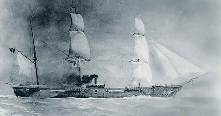 The USS Housatonic was sunk by the Confederate submarine H.L. Hunley.